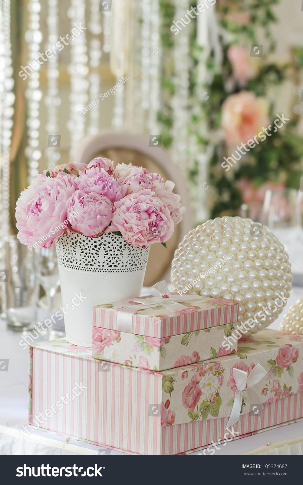 Decoration Wedding Table Flowers Vase Gift Stock Photo Edit Now 105374687