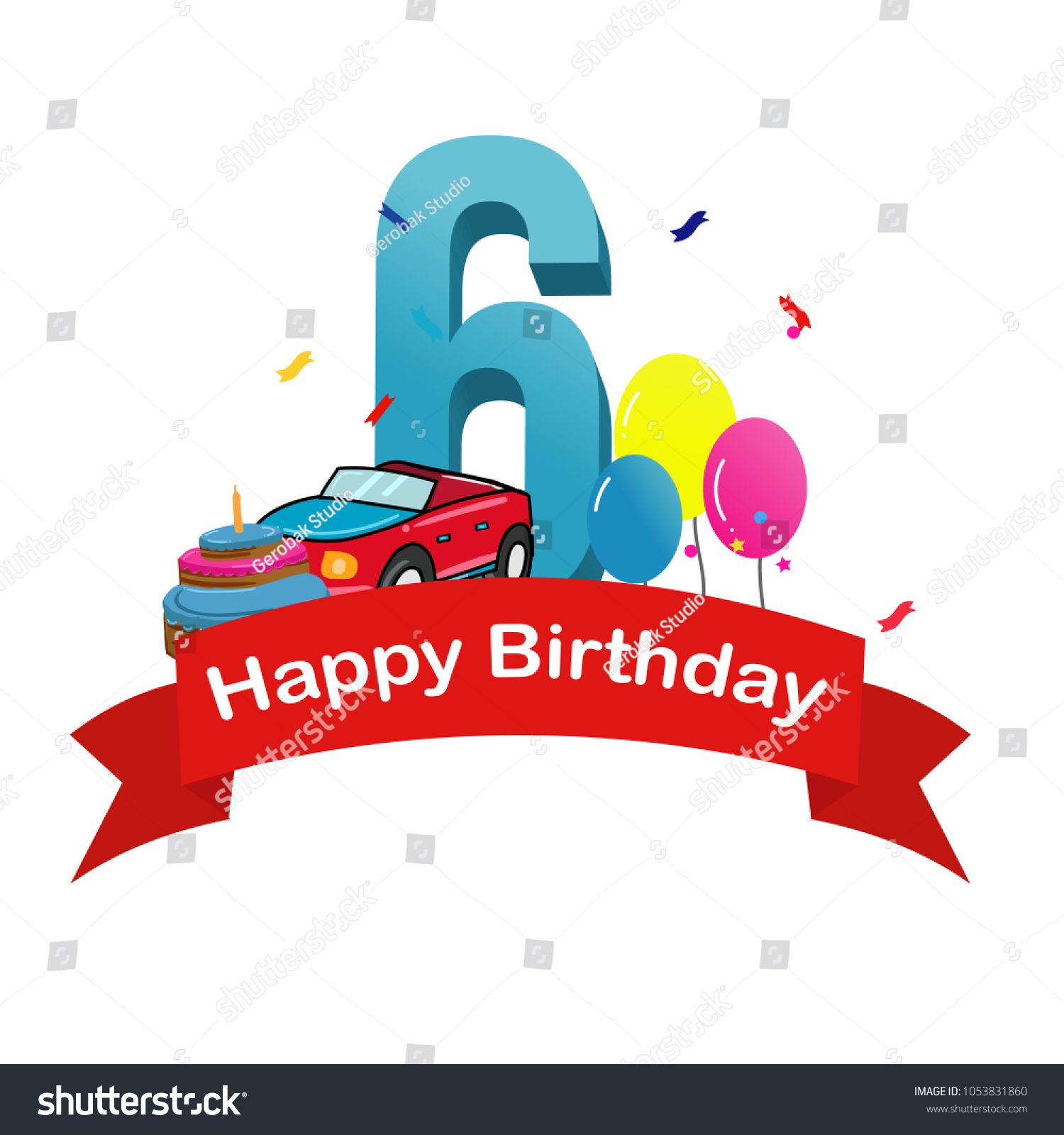 Happy Sixth Birthday Baby Boy Greeting Card With Race Car Cake And Balloons Vector