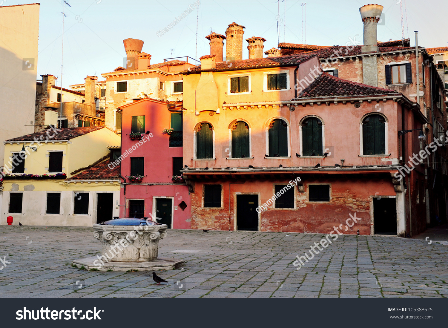 Old Apartments Building In Venice, Italy. Stock Photo ...