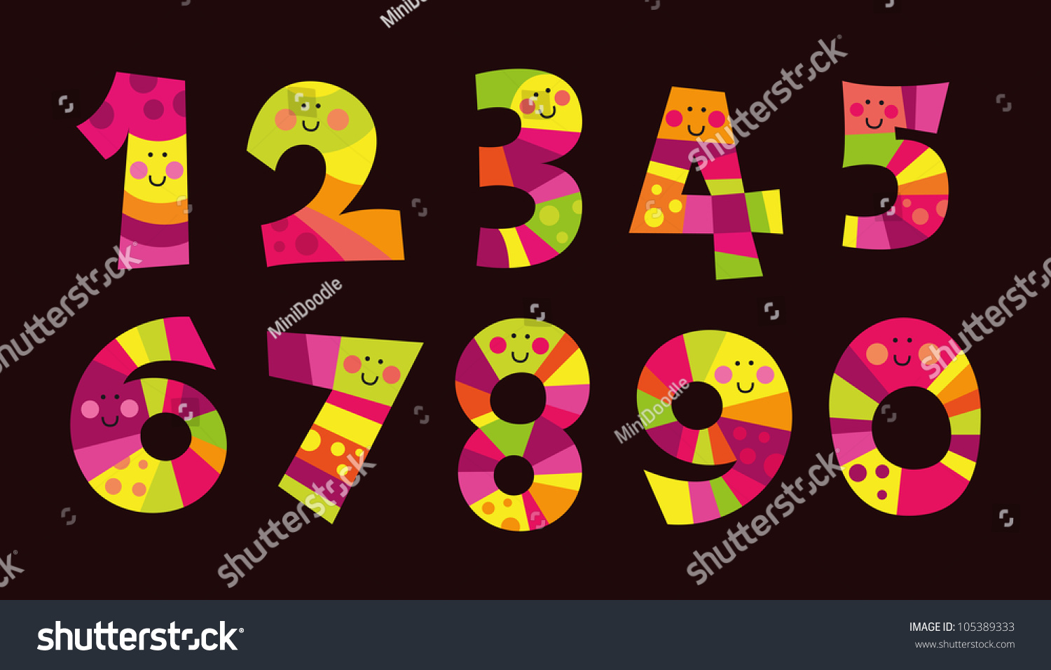 Colorful funny numbers isolated on dark stock vector 105389333 colorful funny numbers isolated on the dark backgroundgood for beginners in math biocorpaavc