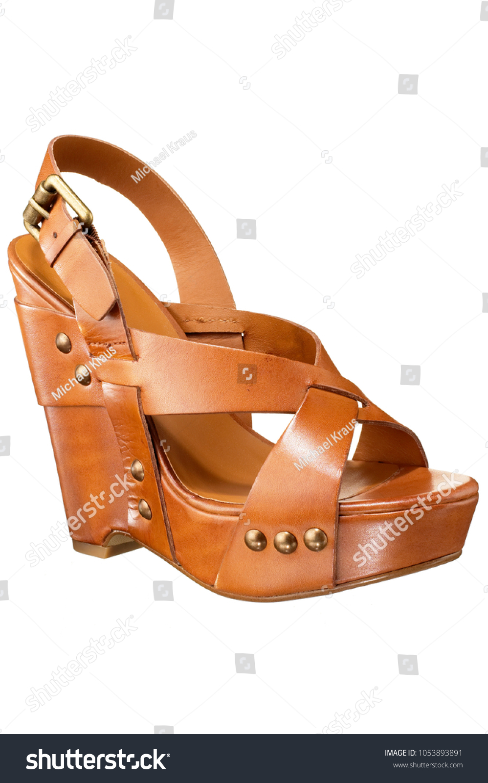 a6ba5a11e82 Open Toe High Heel Wedge Shoe Stock Photo (Edit Now) 1053893891 ...