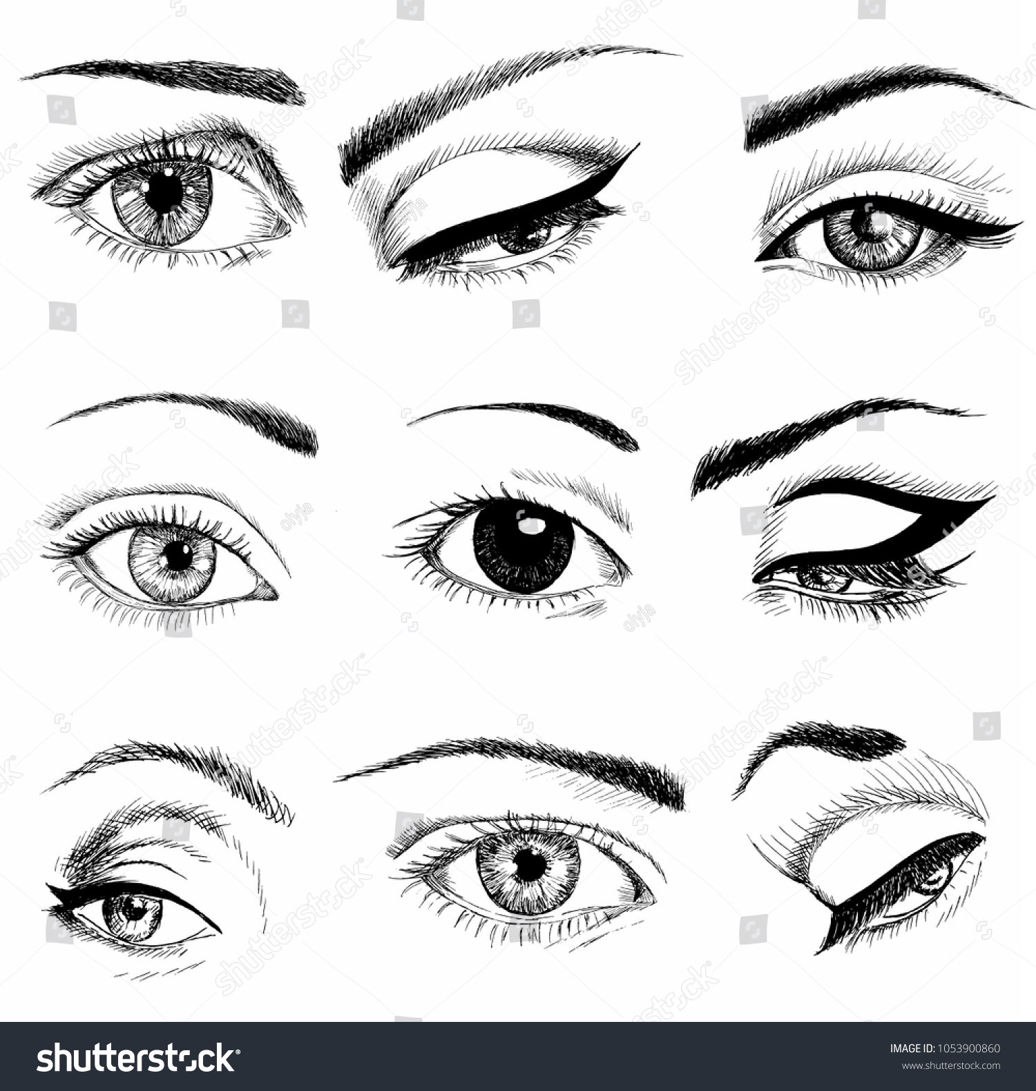 Eyes Different Shapes Makeup Set Hand Stock Vector Royalty Free