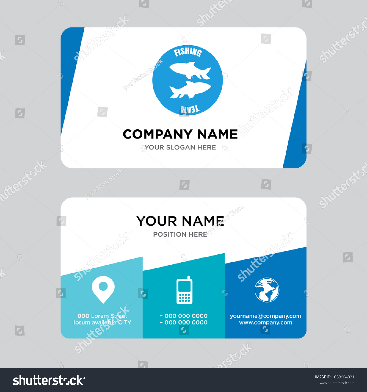 Fishing Team Business Card Design Template Stock Vector (2018 ...