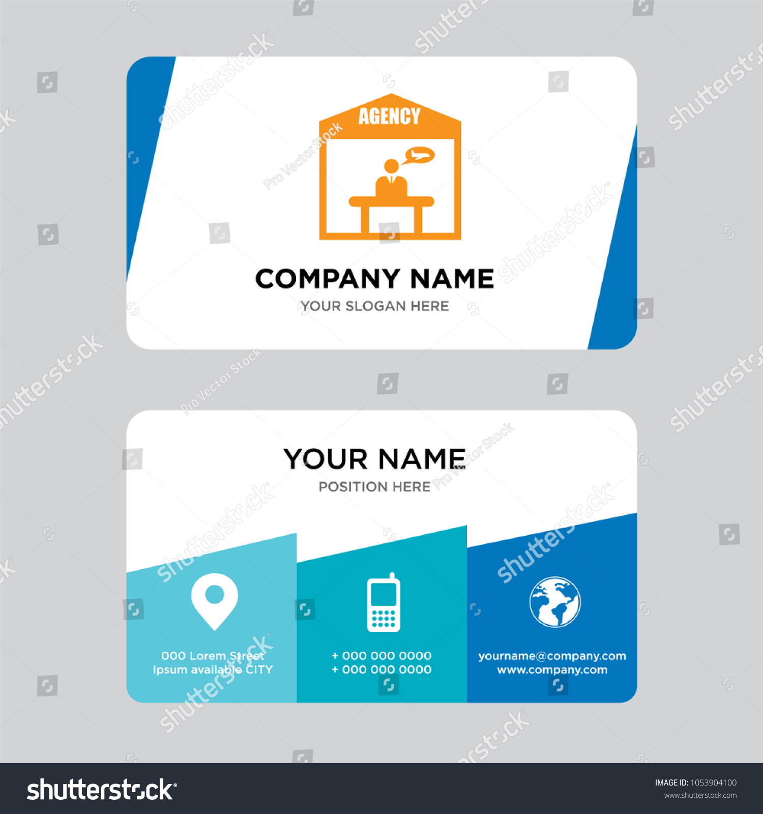 Travel Agency Business Card Design Template Stock Vector 1053904100 ...