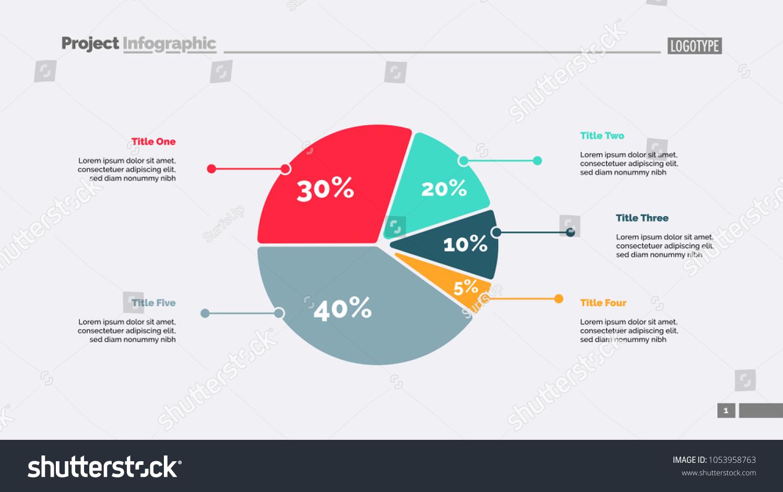 Five sectors pie chart slide template stock vector 1053958763 five sectors pie chart slide template business data review assessment design geenschuldenfo Gallery