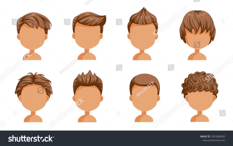 Boy Hair Set Face Little Boy Stock Vector (Royalty Free) 1053989630