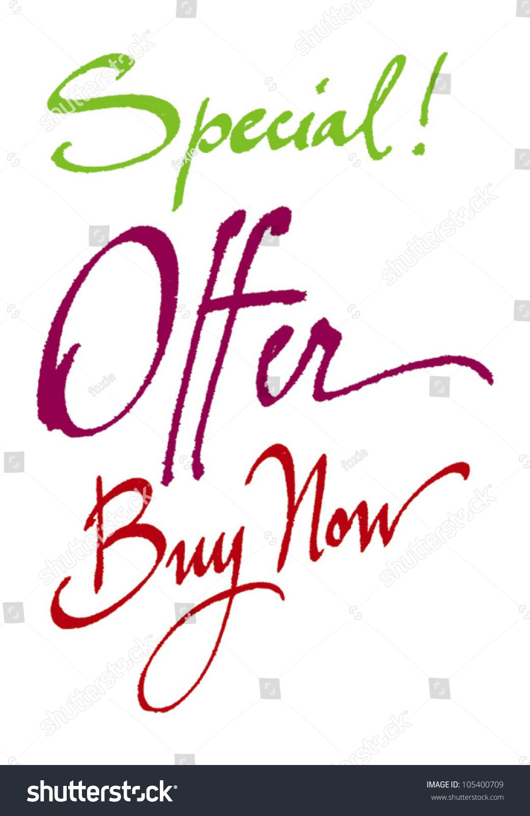 Special offer buy now original handwritten stock vector