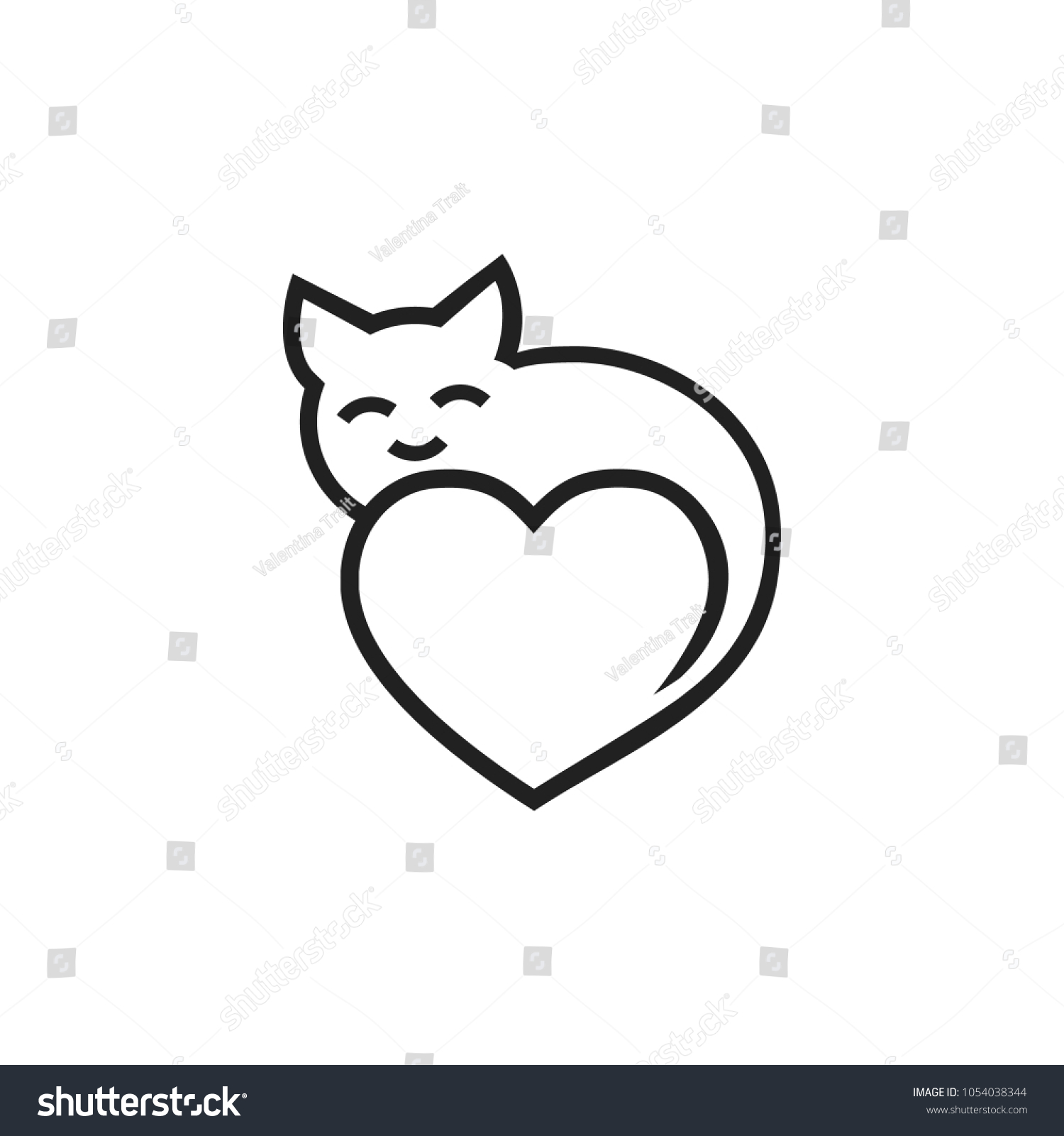 Heart Cat Love Cats Template Your Stock Vector Royalty Free