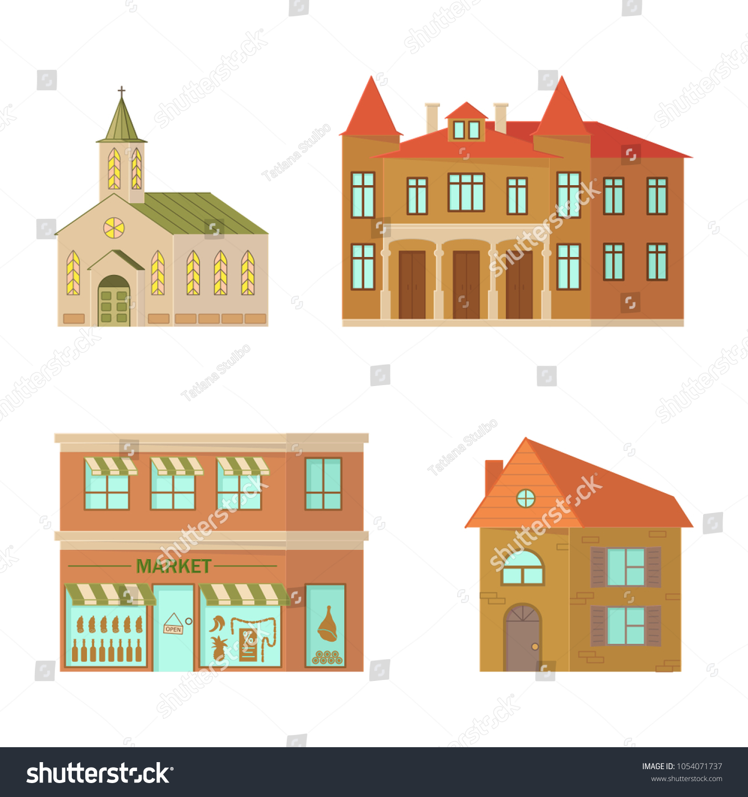 Cartoon House Isolated On White Background Stock Illustration ...