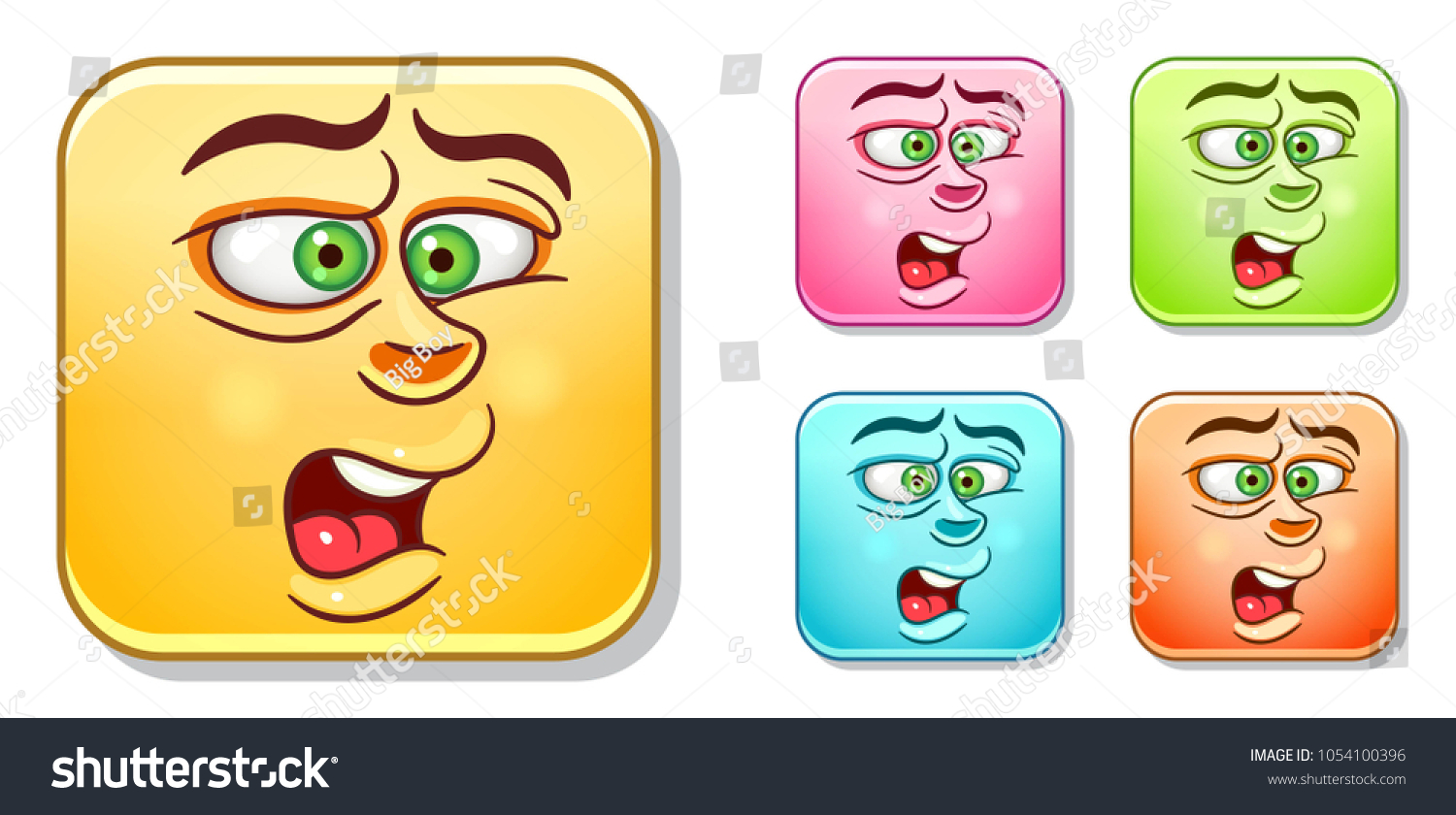 Aggressive disgusted emoji face emoticons collection colorful smiley set avatar symbol internet
