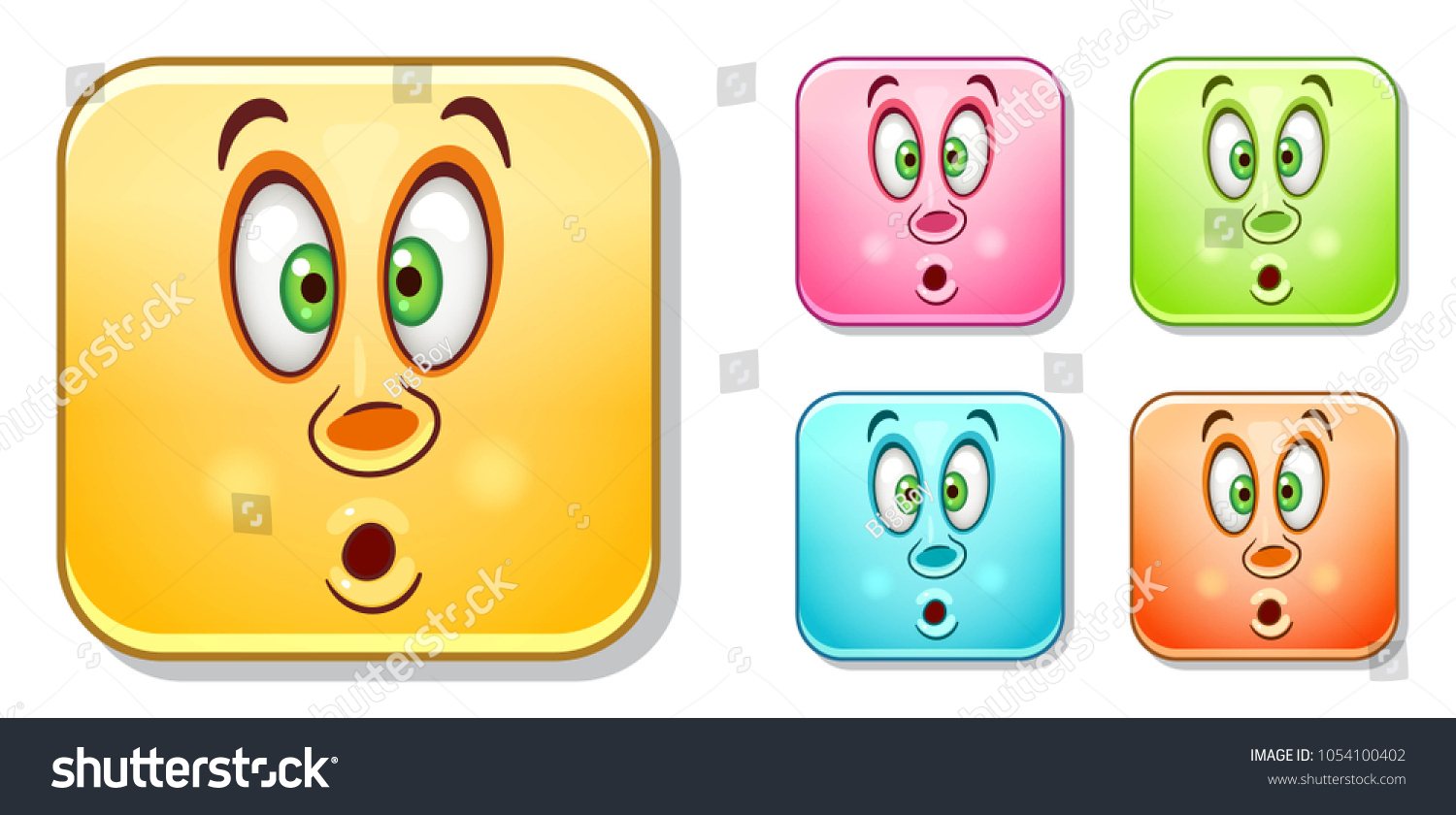 Popeyed Wow Emoji Face Emoticons Collection Stock Vector Royalty