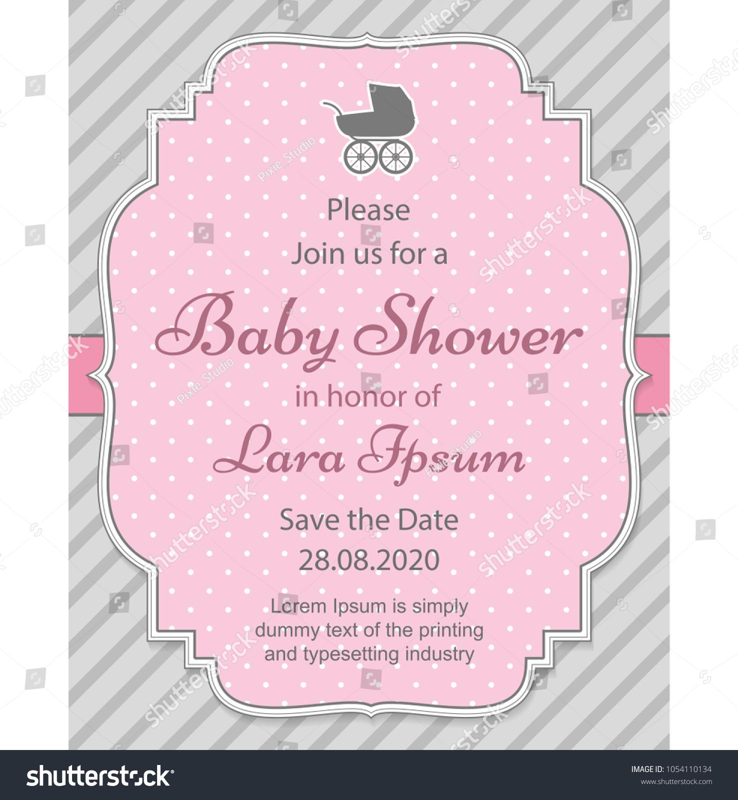 Elegant Baby Shower Invitation Template Stroller Stock Vector