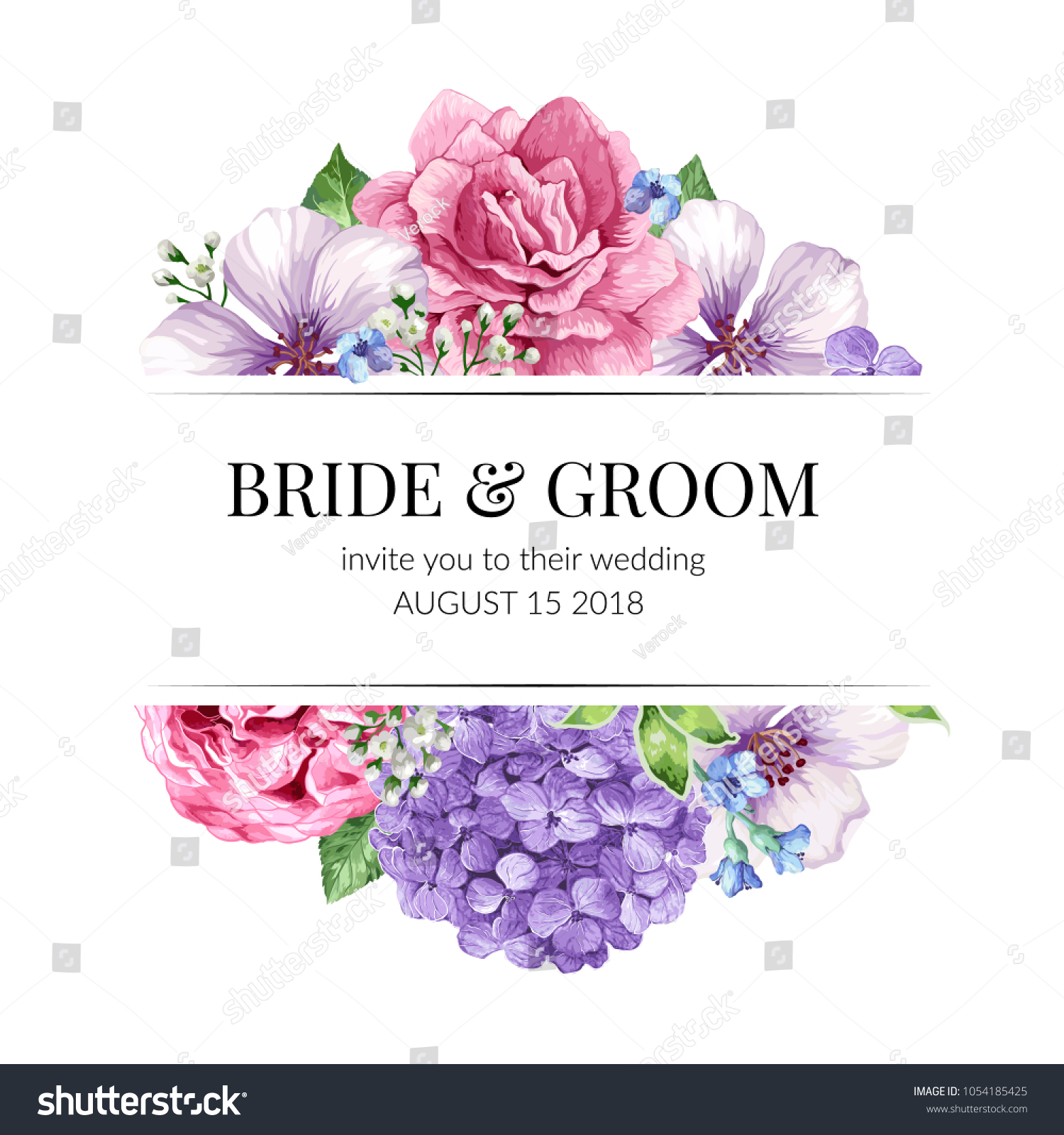 Wedding Invitation Card Flowers Watercolor Style Stock Vector