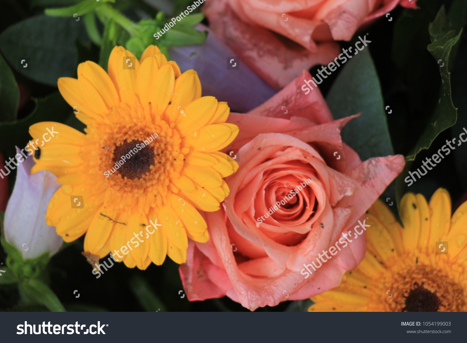 Mixed Flower Arrangement Various Flowers Different Stock Photo