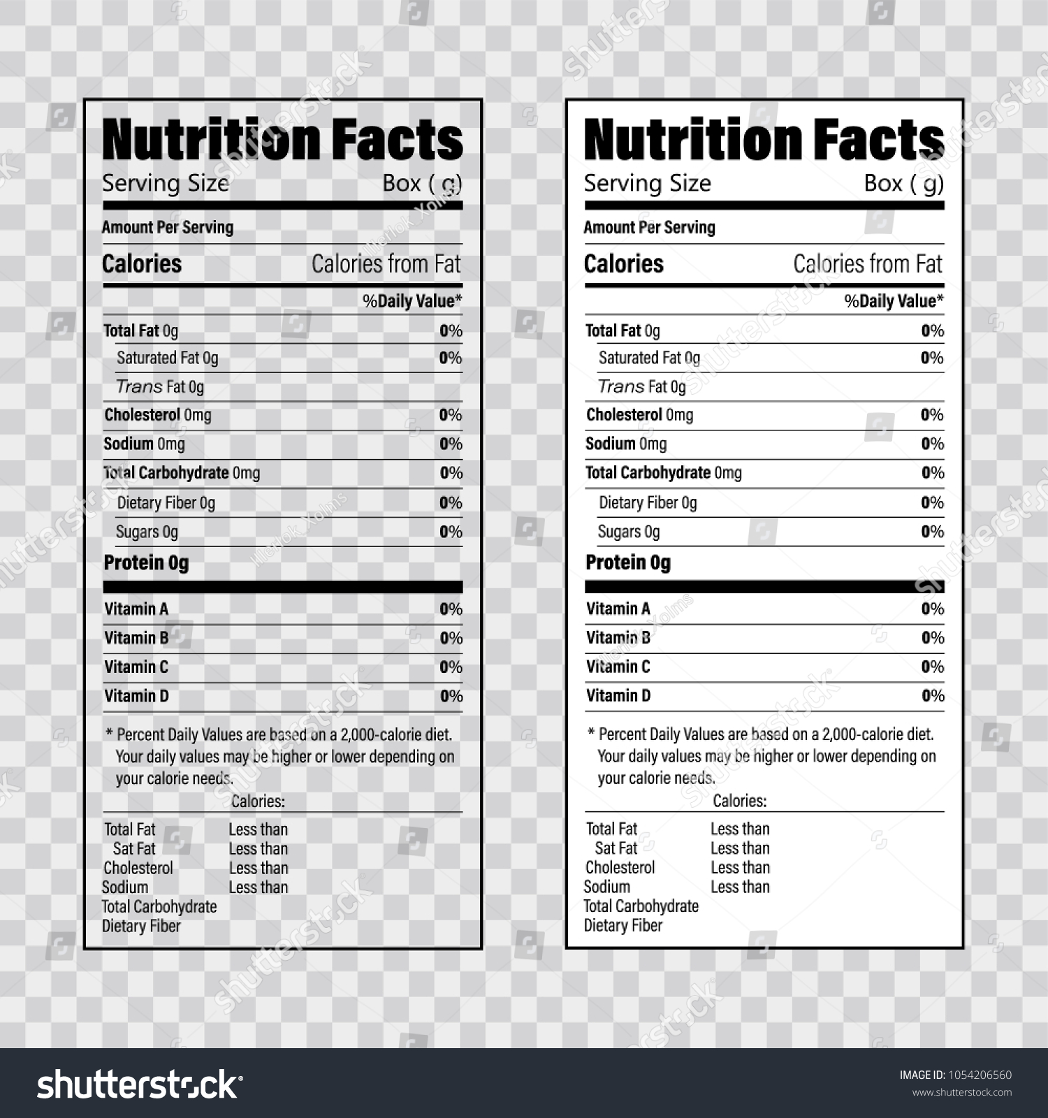 nutrition facts information label template daily のベクター画像素材