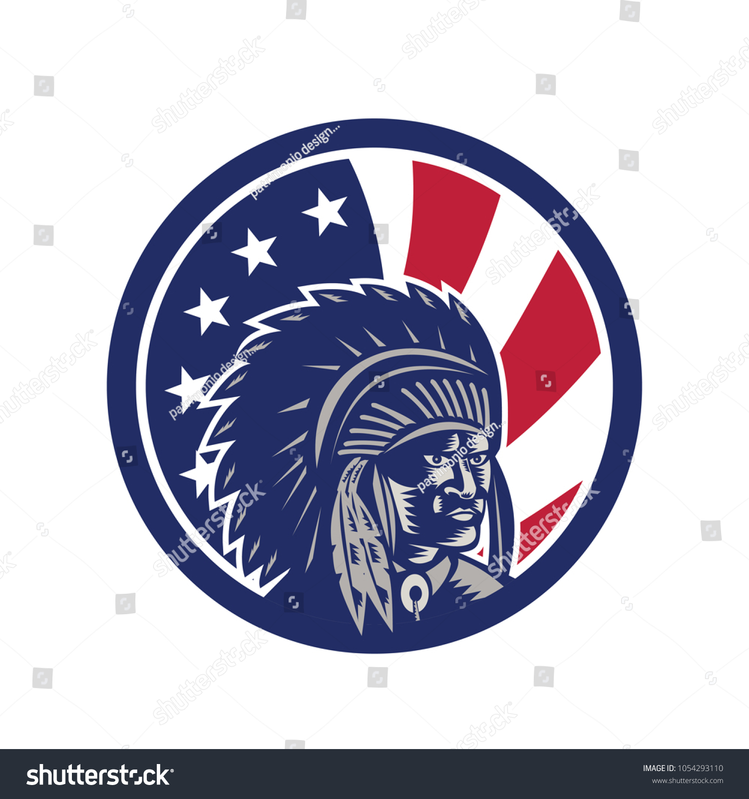 Icon Retro Style Illustration Native American Stock Vector Royalty