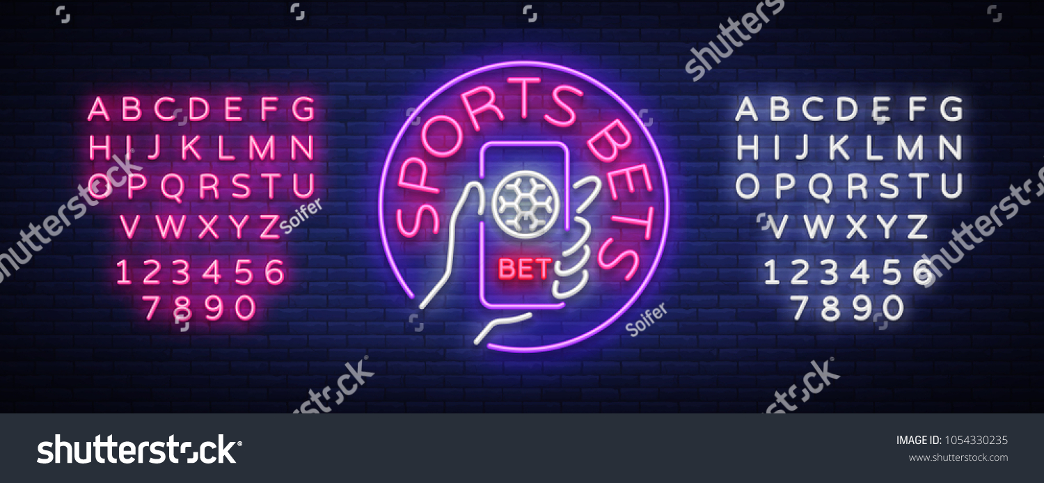 sports betting neon sign design template のベクター画像素材