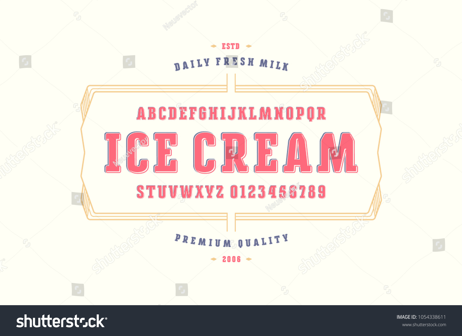 Decorative Serif Font Rounded Corners Label Stock Vector 1054338611 ...