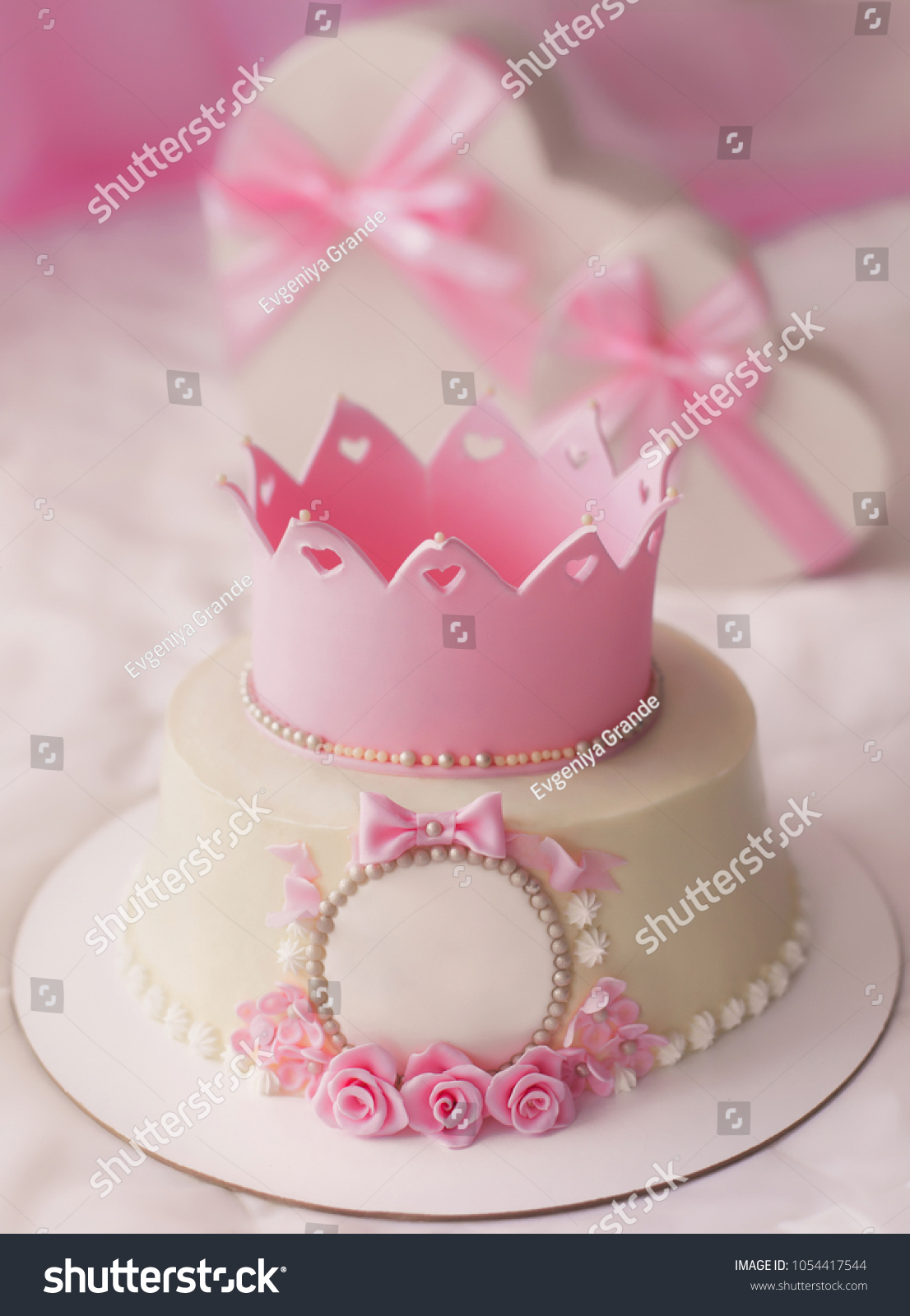 Stupendous Pink Cake Crown Gifts Heart Box Stock Photo Edit Now 1054417544 Funny Birthday Cards Online Kookostrdamsfinfo