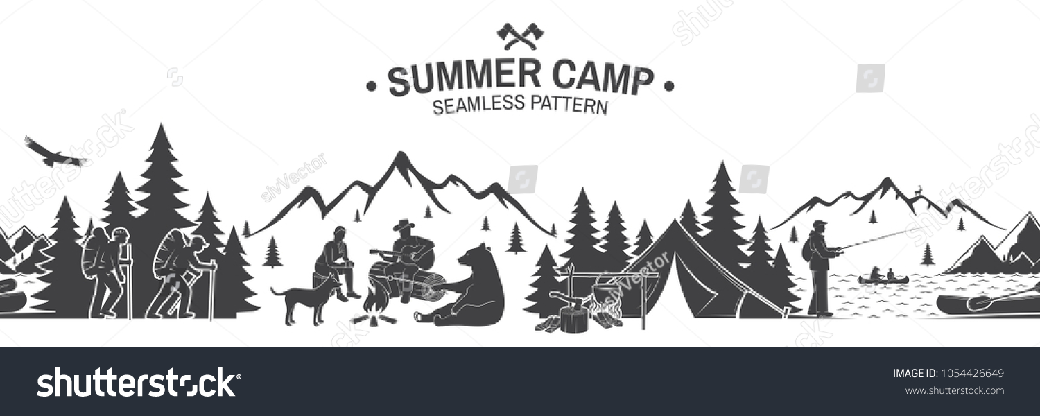 Summer Camp Seamless Pattern Vector Illustration Outdoor Adventure Background For Wallpaper Or Wrapper