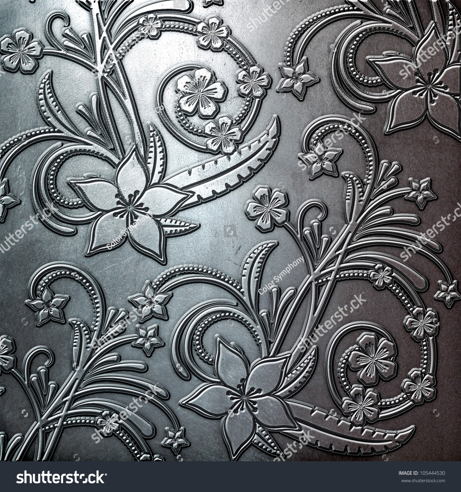 Steel Metal Plate Background Floral Pattern Stock Illustration 105444530