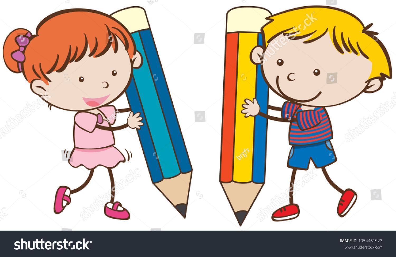 boy girl writing big pencils illustration stock vector (royalty free
