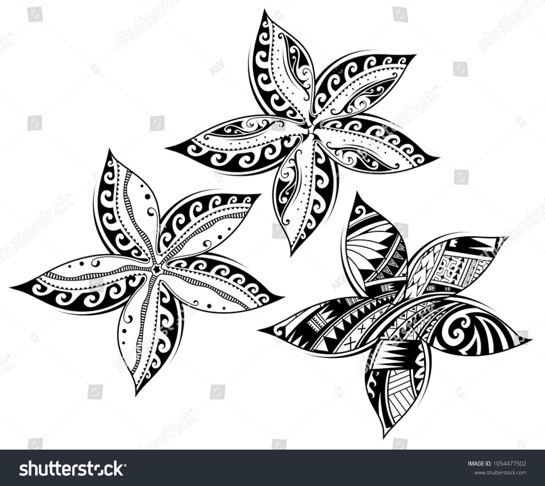 Plumeria Flower Tribal Tattoo Maori Samoan Stock Vector Royalty