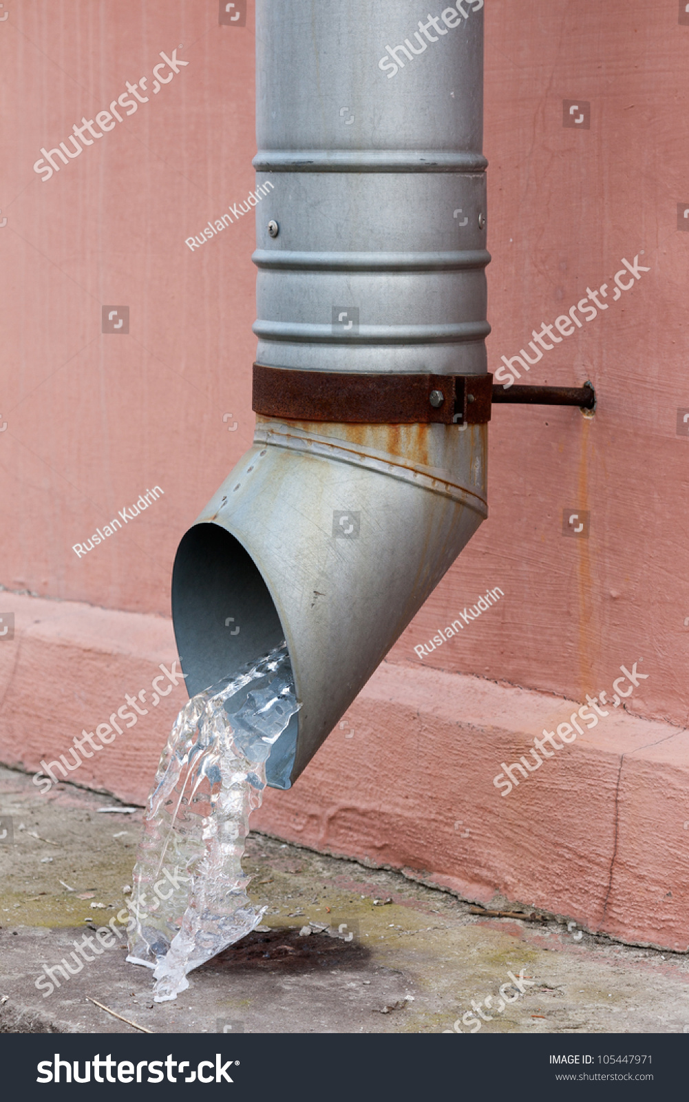 Old Drain Pipe Frozen Water Against Stock Photo 105447971