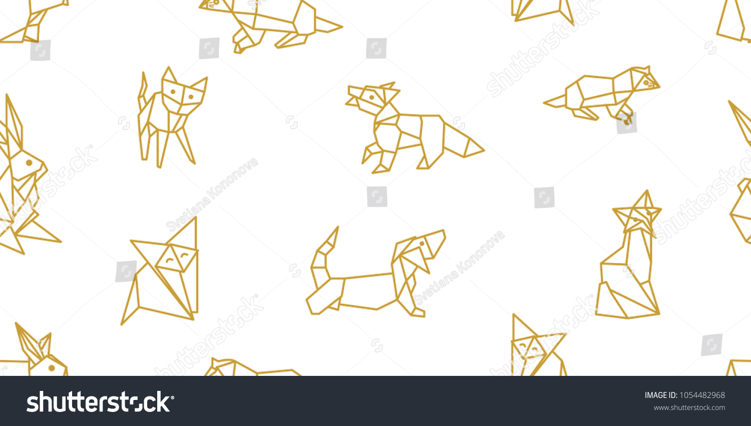 Origami Animals Seamless Vector Pattern Hares Stock Royalty Dinosaurs Diagrams Embroidery With Foxes Cats Dogs And Abstract