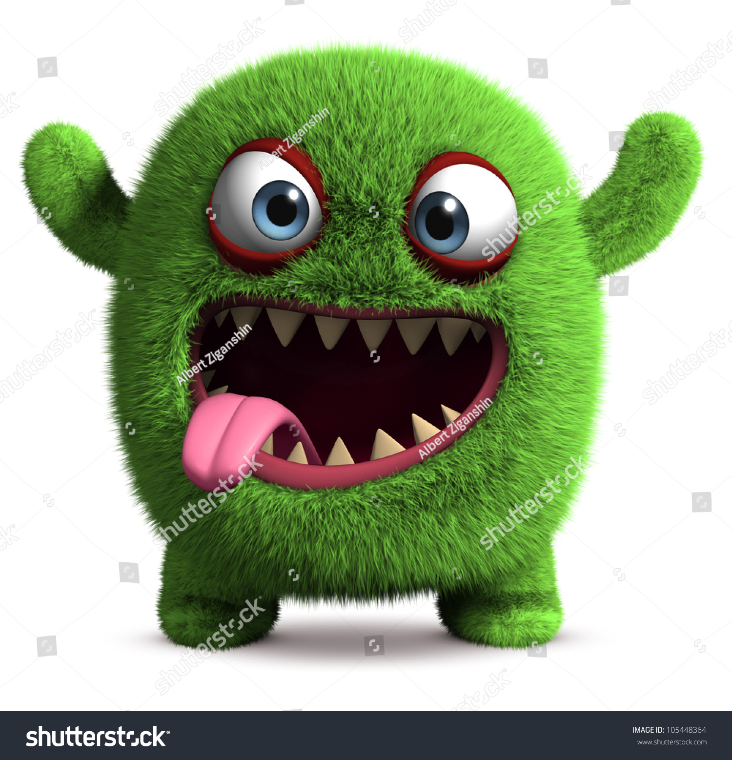 3d cute furry monster stock illustration 105448364 shutterstock