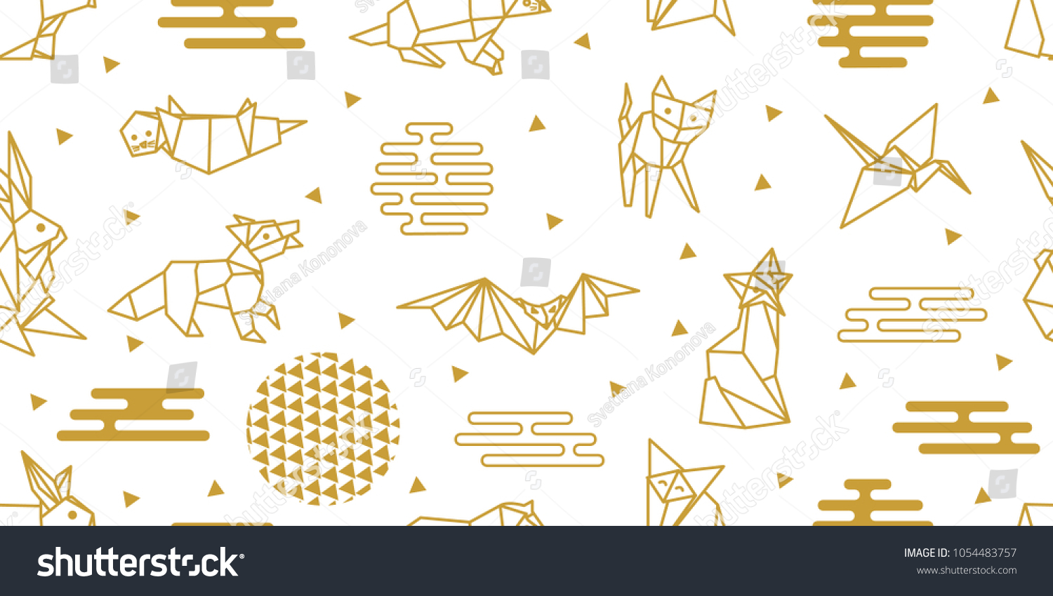 Origami Animals Seamless Vector Pattern Hares Stock Royalty Dinosaurs Diagrams Embroidery With Foxes Cats Dogs Birds