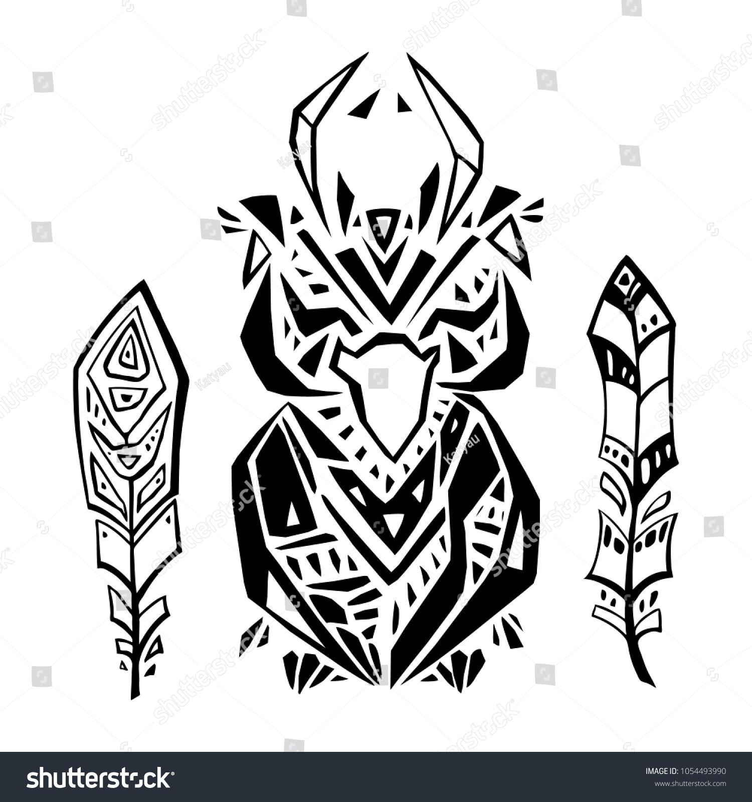 95556112737e5 Decorative Owl. Tribal pattern. Ethnic tattoo. Hand drawn vector  illustration.