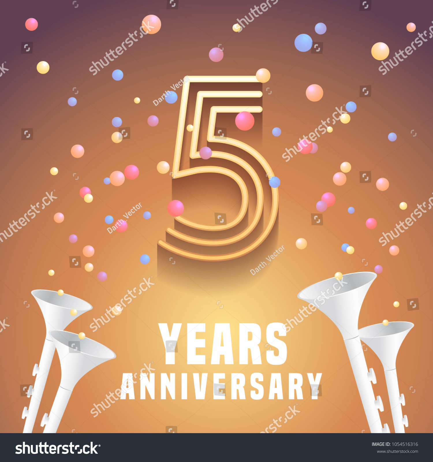 5 years anniversary vector icon symbol stock vector 1054516316 5 years anniversary vector icon symbol graphic design element with festive background and horns biocorpaavc Gallery