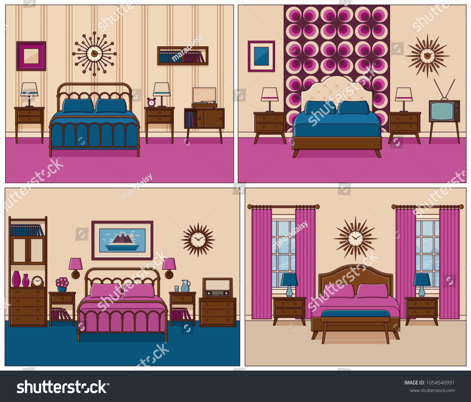 Bedroom Interior Hotel Rooms Bed Vector Stock Vector (Royalty Free ...