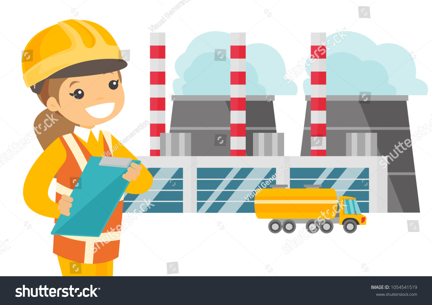 Young Caucasian White Man Hard Hat Stock Vector Royalty Free Power Plant General Layout In Standing On The Background Of Nuclear