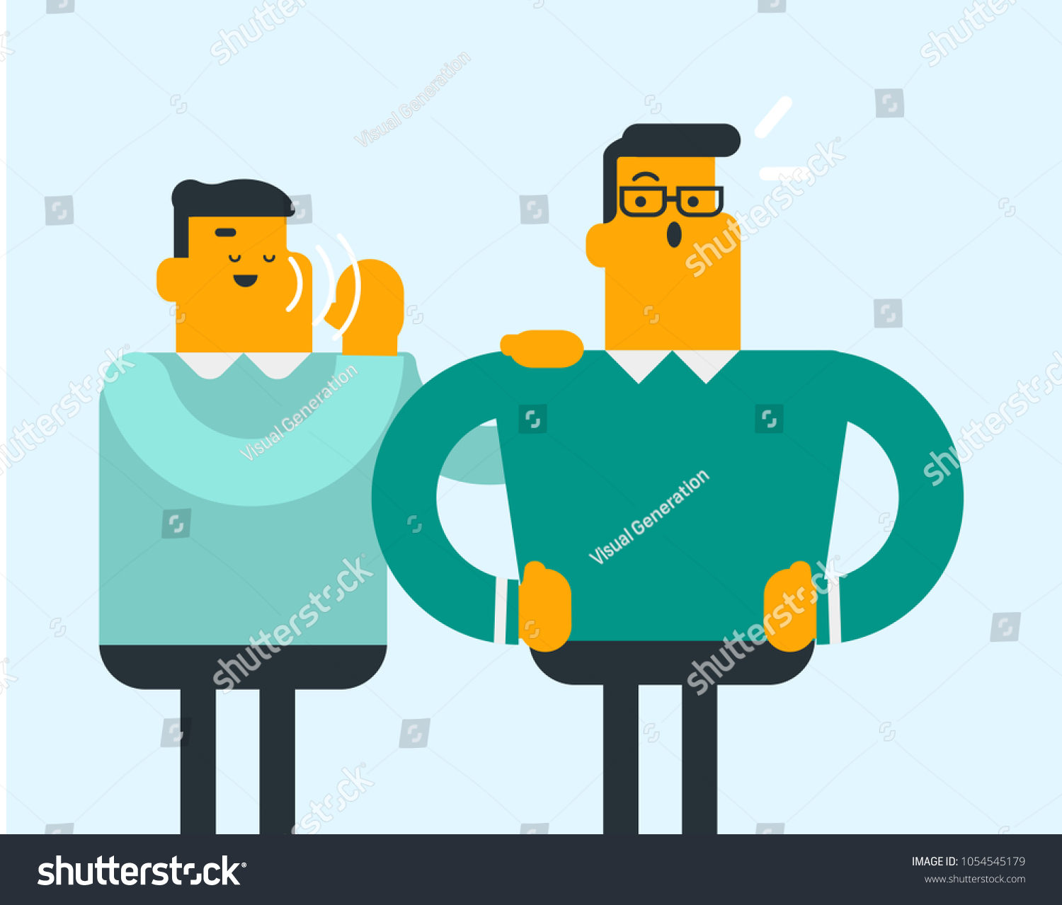 4b5f1d59 Two men sharing and discussing gossip. Vector cartoon illustration.  Horizontal layout. - Vector