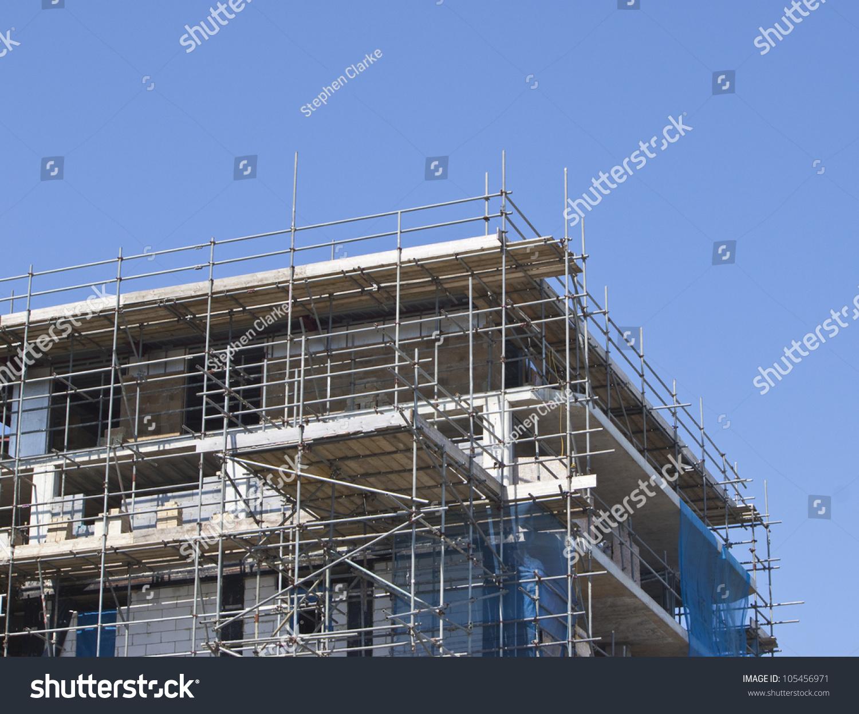 Construction Site Scaffolding Surrounding Against Wonderful Stock Photo 105456971 Shutterstock