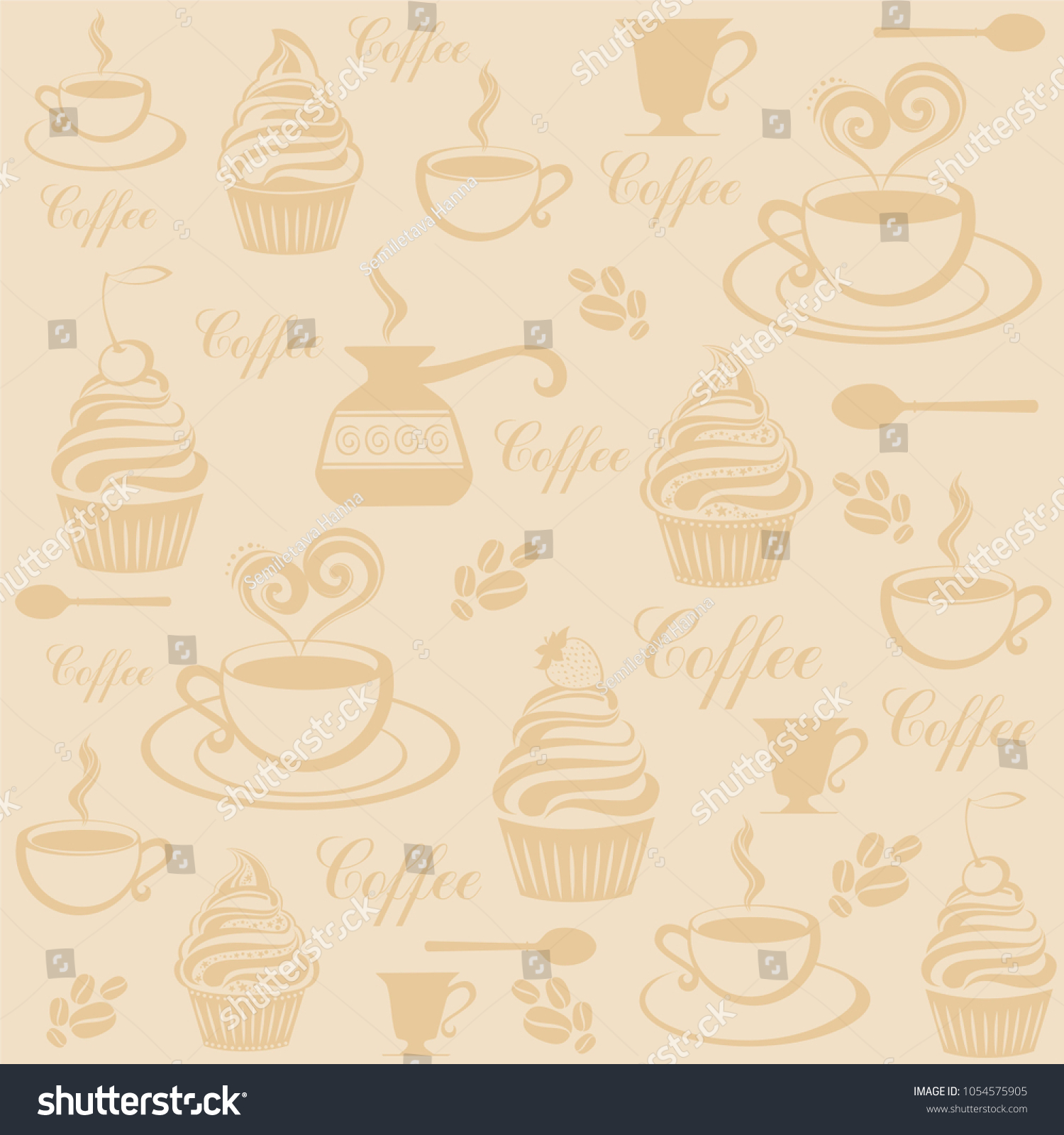 Seamless Coffee Wallpaper Vintage Restaurant Menu Food And Drink Doodles Pattern Illustration