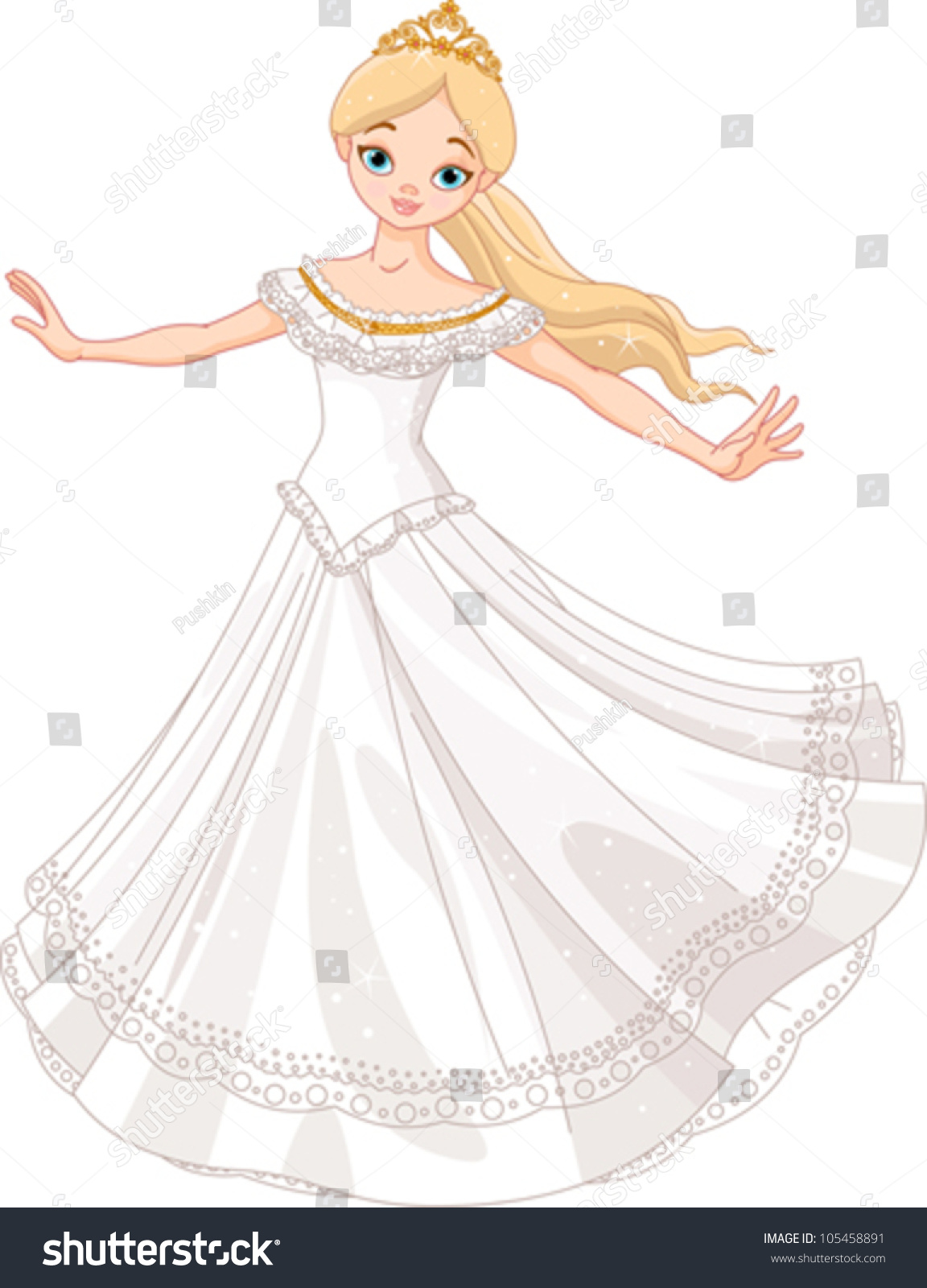 Illustration Beautiful Princess Dancing Vector De Stock Libre De