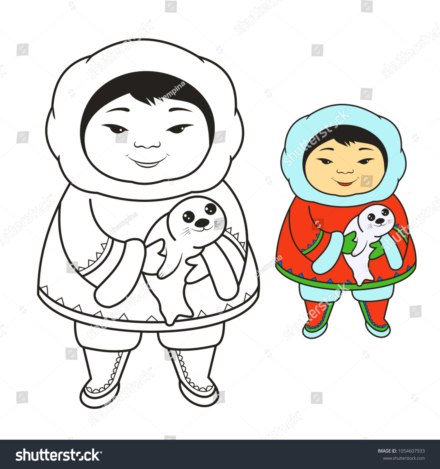 Cute Eskimo Baby Seal Coloring Book Pages Stock Vector (Royalty Free ...