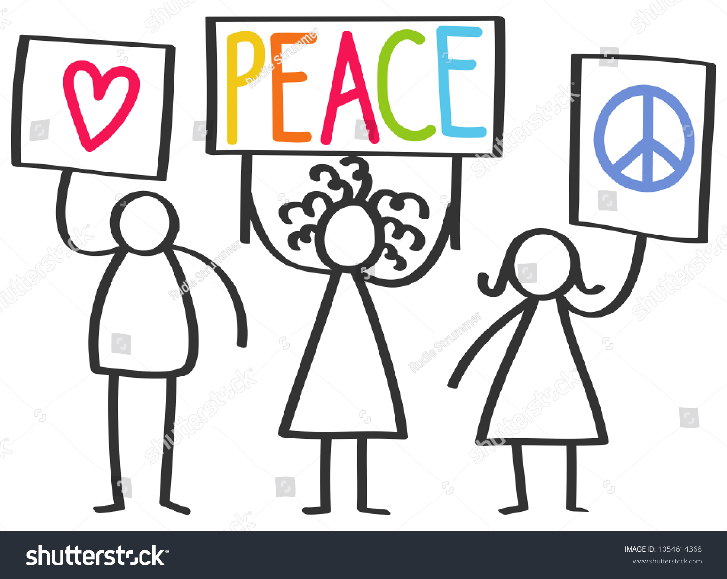 Vector Illustration Stick Figures Protesting Peace Stock Vector