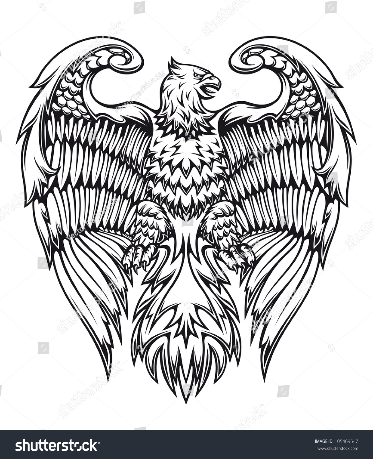 powerful eagle griffin heraldic style jpeg stock vector 105469547