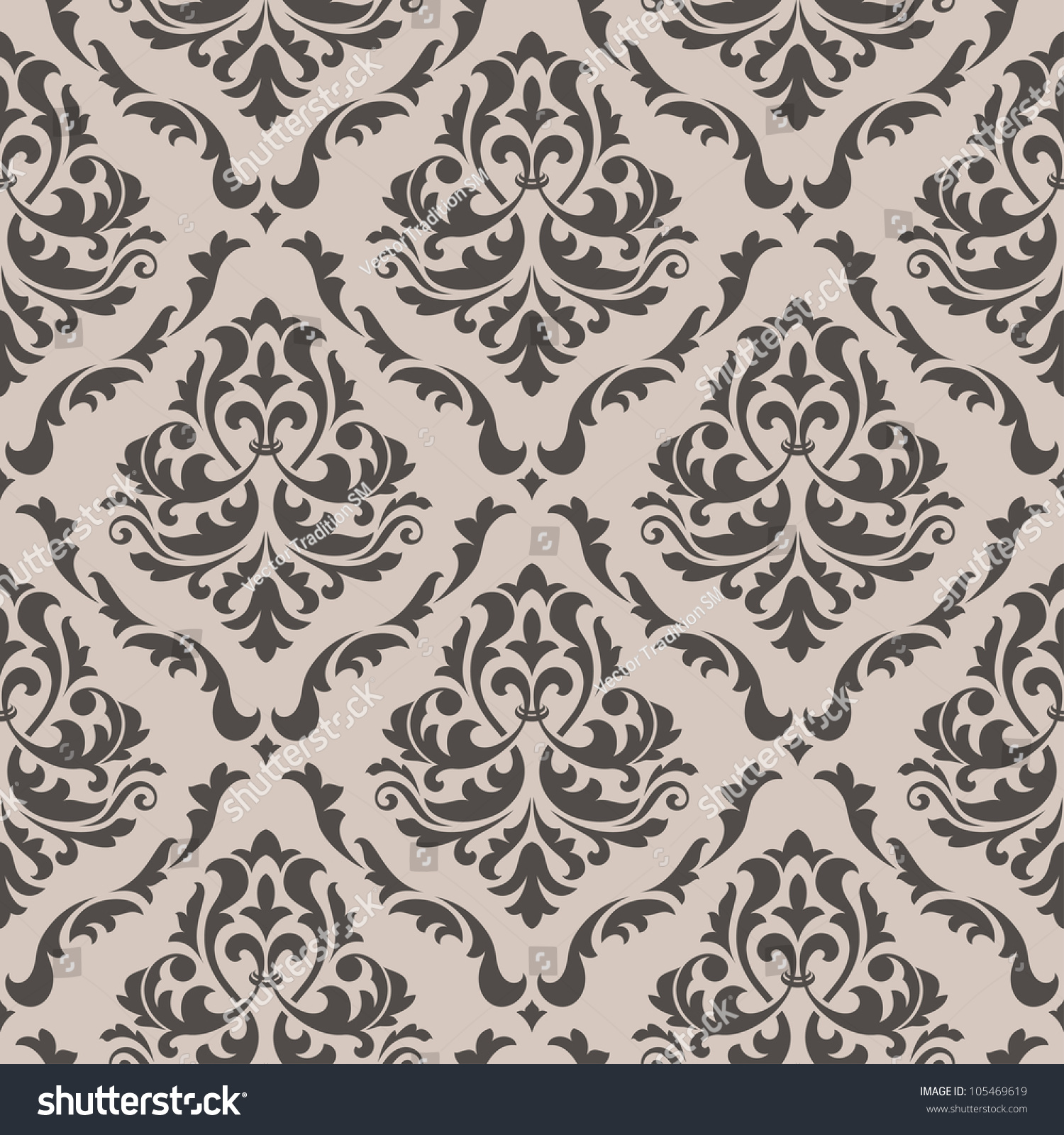 Seamless floral pattern background design victorian stock vector 105469619 shutterstock - Victorian design style style ...