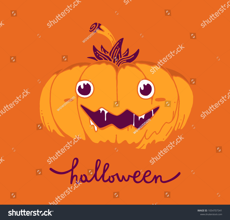 Flat Style Design Halloween Greeting Card Stock Vector 1054707341