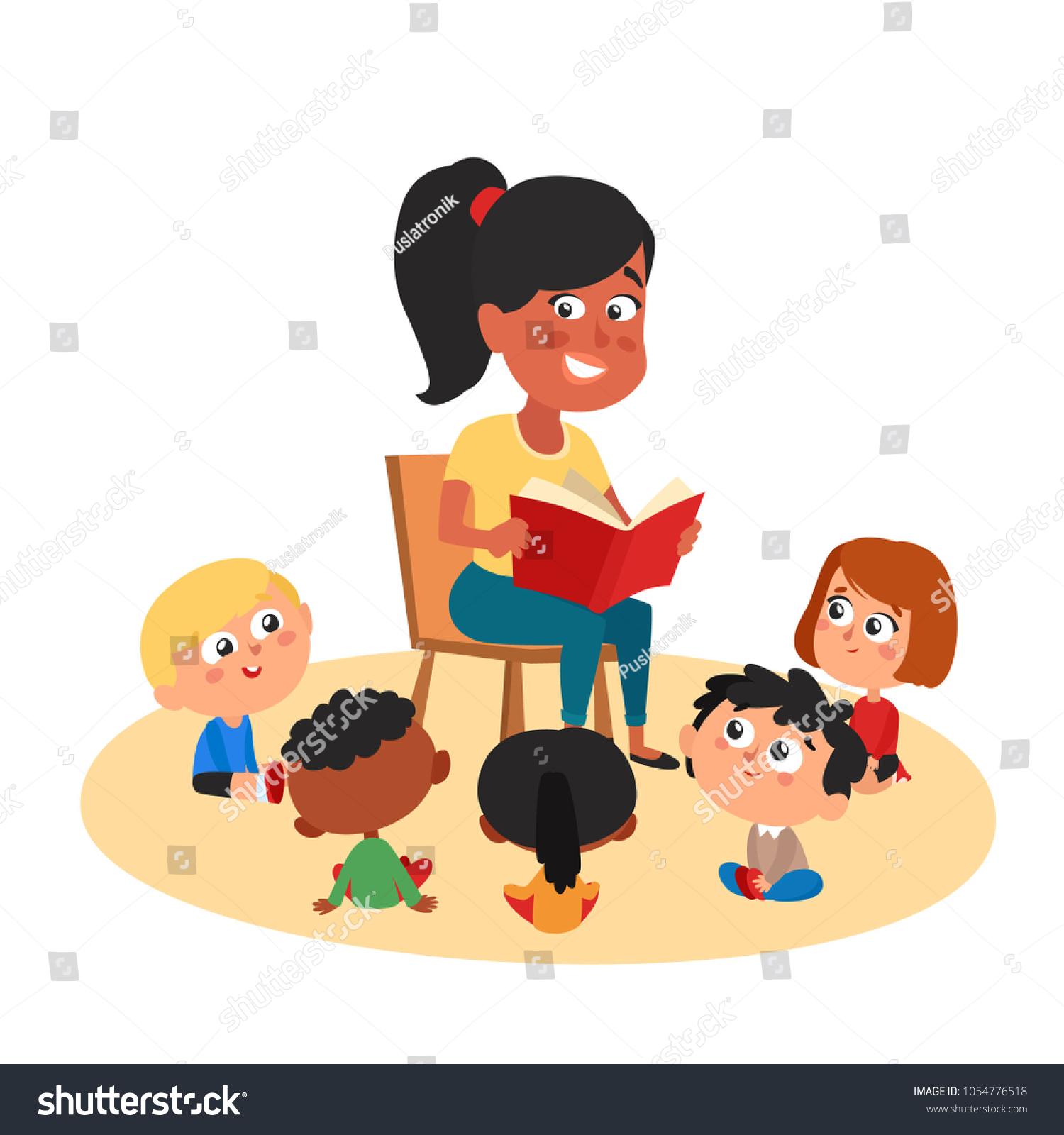 teacher reading cute kids kinder garden stock vector (royalty free