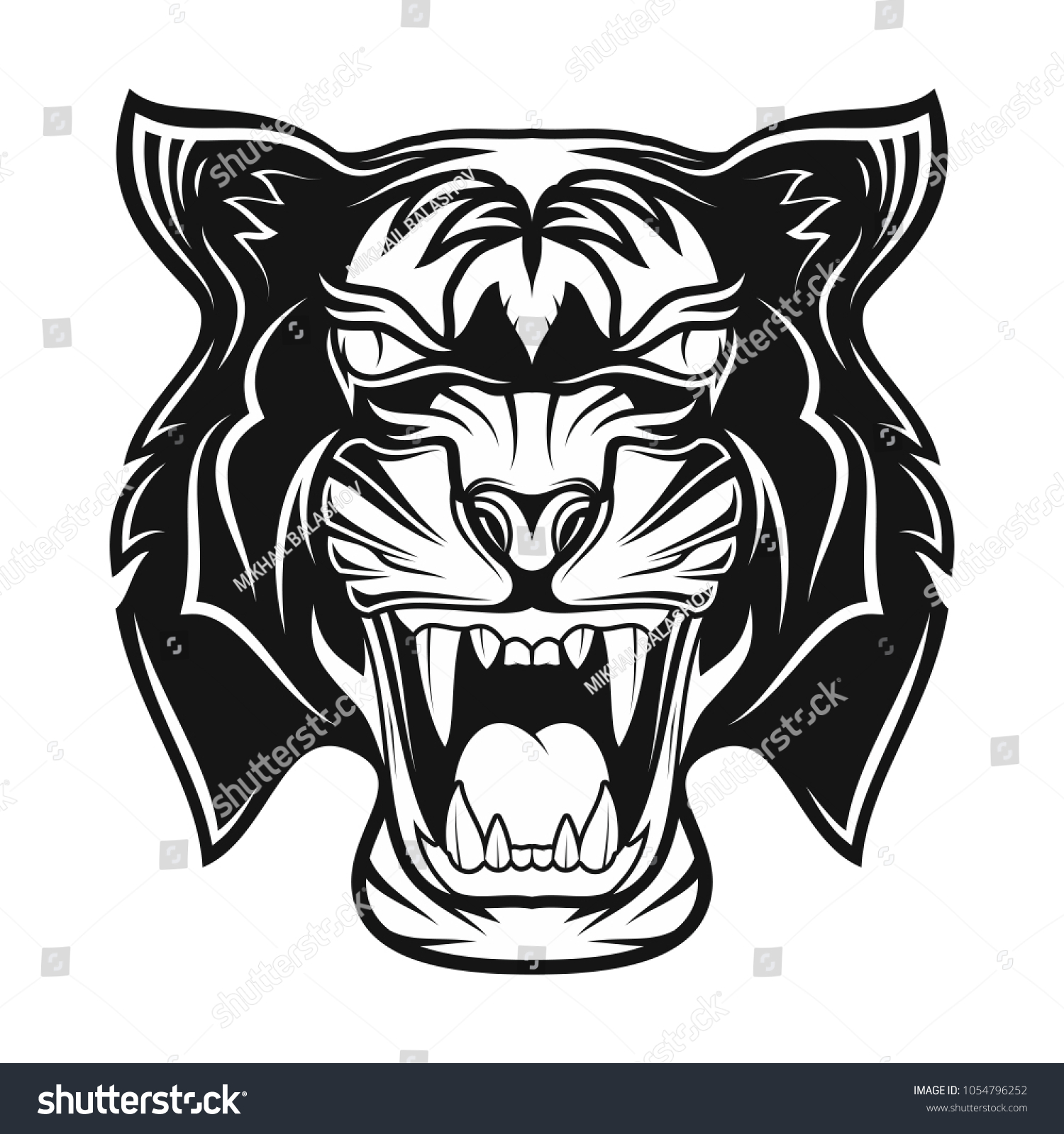 Grin of a predator black tribal tattoo vector image of