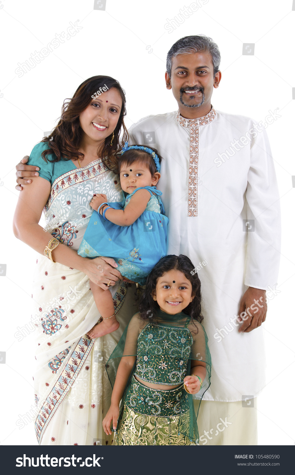 Happy Traditional Indian Family Traditional Indian Stock