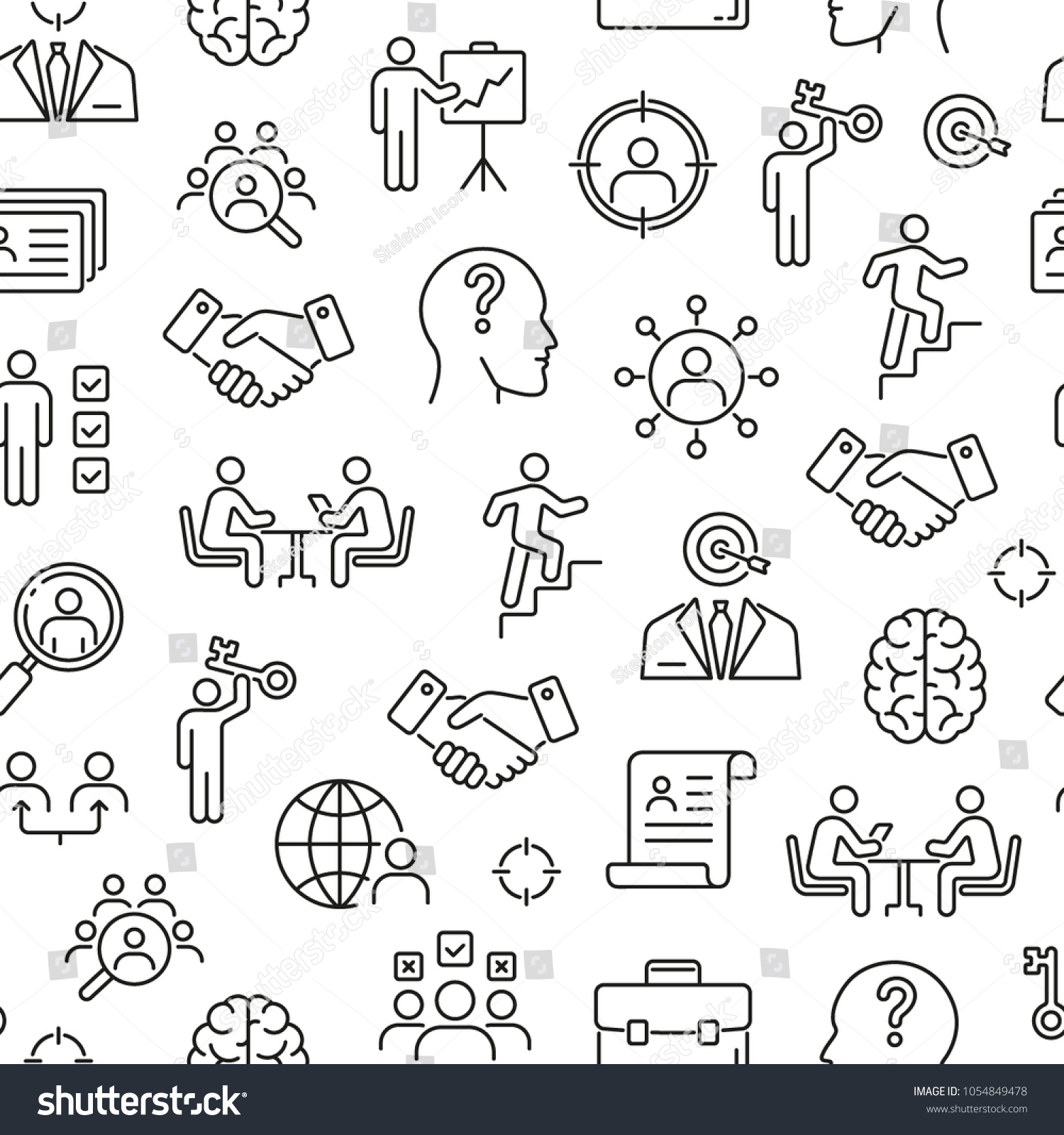 Seamless pattern with head hunting. Black and white thin line icons