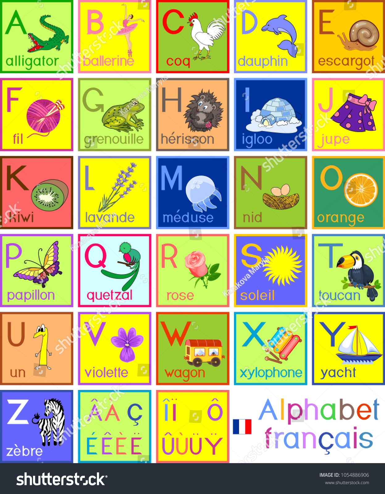 Colorful French Alphabet Pictures Titles Children Stock Vector ...