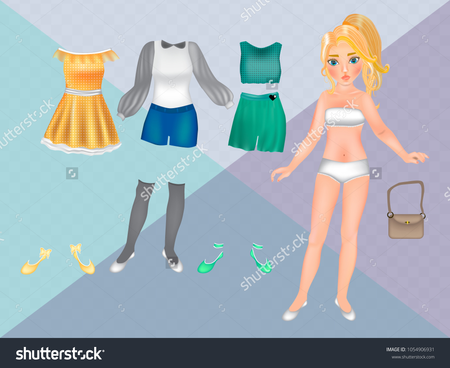Paper Dolls Clothes Carving Printable Paper Stock Vector Royalty